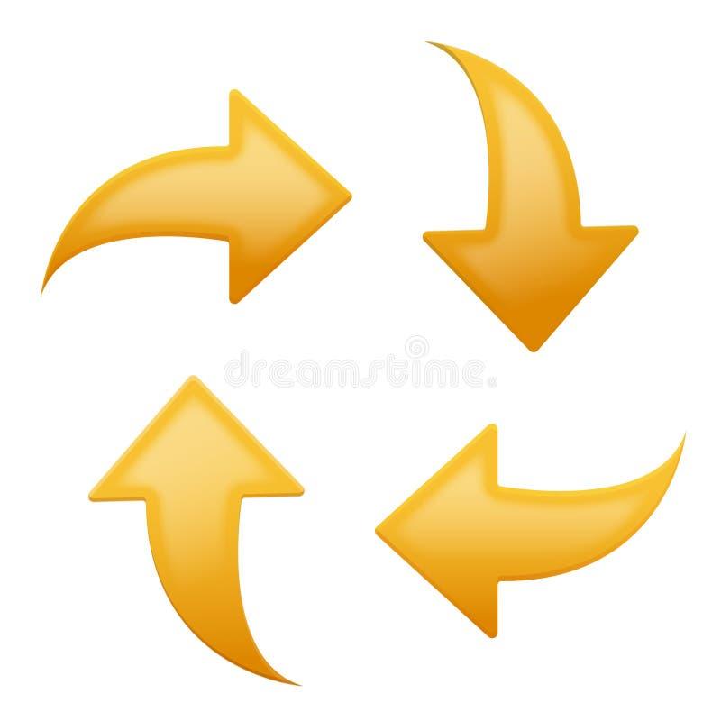set yellow för pilriktningar fyra royaltyfri illustrationer