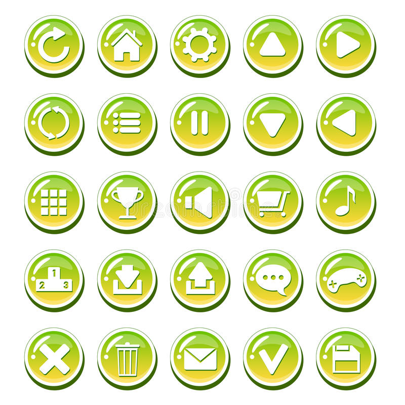 Set of yellow green glassy buttons for interfaces (game interface, app user interface). royalty free illustration