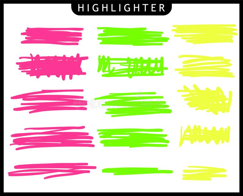 Set of yellow, green, pink, strokes line markers. highlight brush lines. Hand drawing sketch underlined, stripes. vector illustration