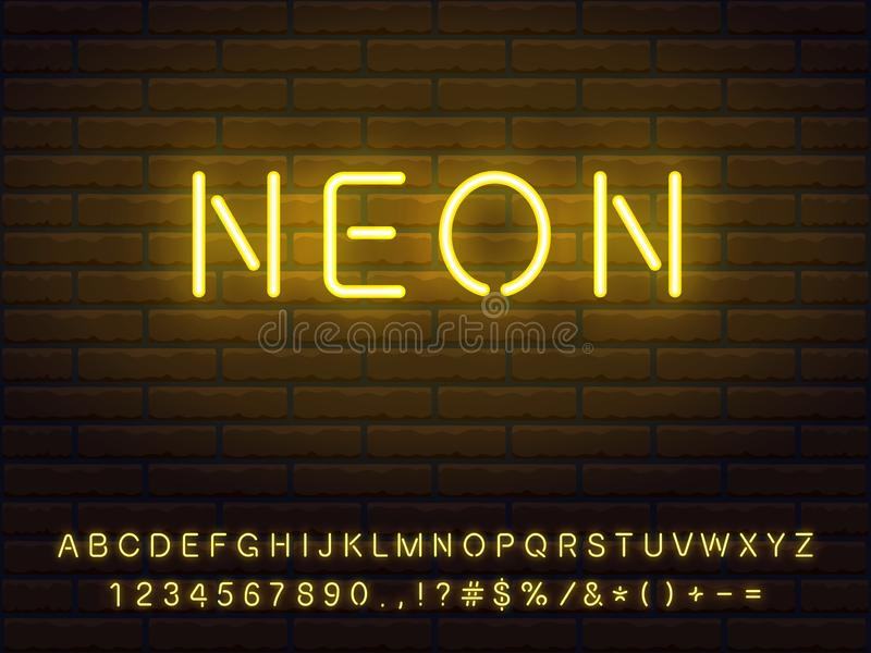 Glowing yellow neon font collection. Set of yellow neon font. Letters, numerals, signs, icons with transparent glow for web design and advertising royalty free illustration