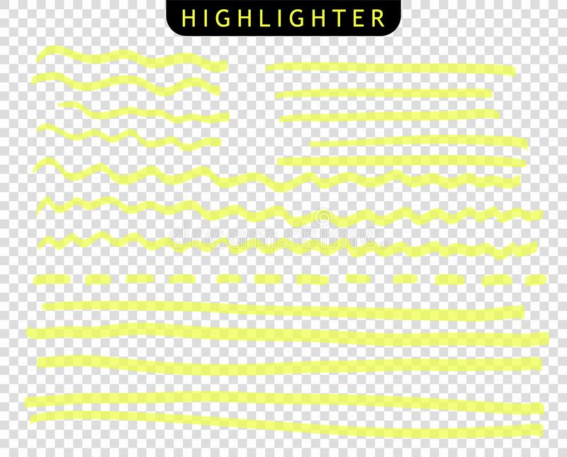 Set of yellow strokes line markers. Vector highlight brush lines. Hand drawing sketch underlined, stripes.  isolated background. royalty free illustration