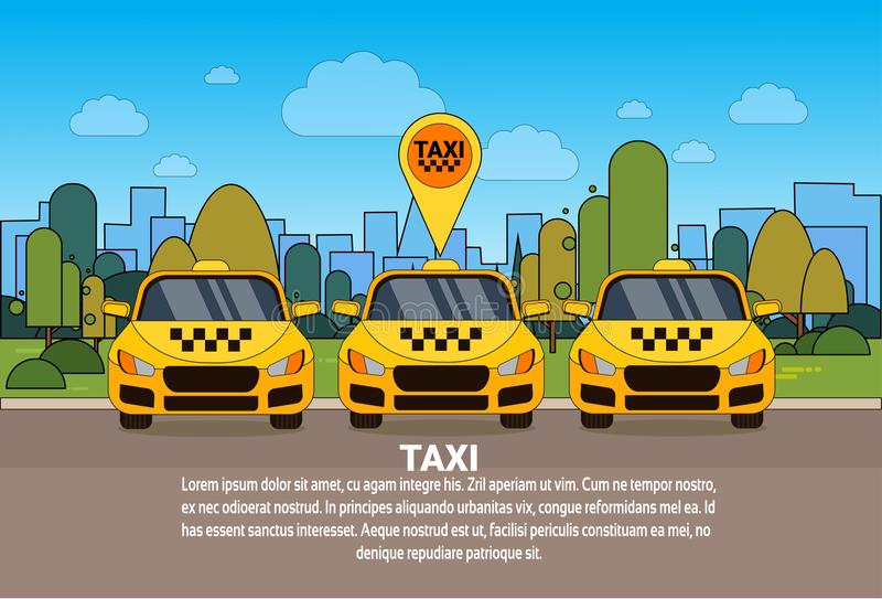 Set of Yellow Taxi Cars With Gps Location Pointer Online Cab Service Concept. Flat Vector Illustration stock illustration