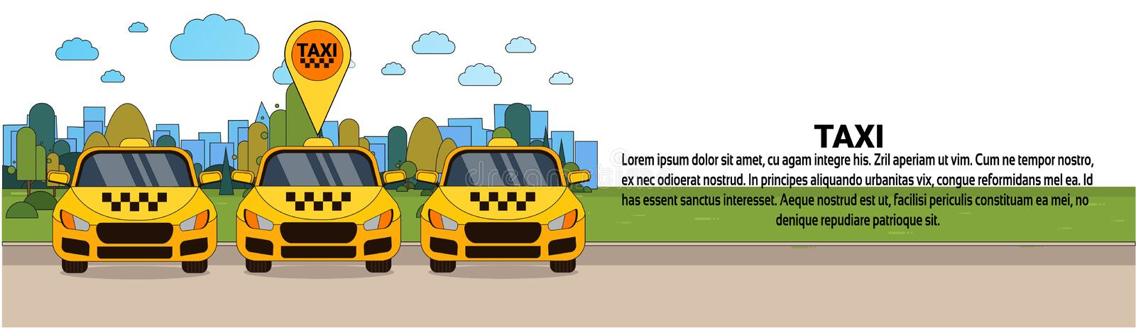 Set of Yellow Taxi Cars With Gps Location Pointer Online Cab Service Concept Horizontal Banner. Flat Vector Illustration vector illustration