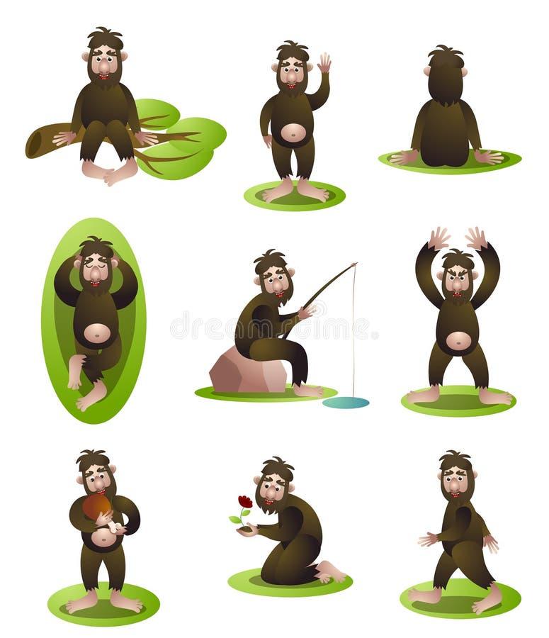 Set yeti lub Bigfoot charakter w różnej dziennej sytuacji ilustracji