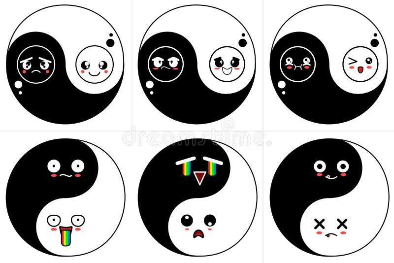 Set yin yang with funny cute kawaii emoticons vector EPS 10 file. stock photos
