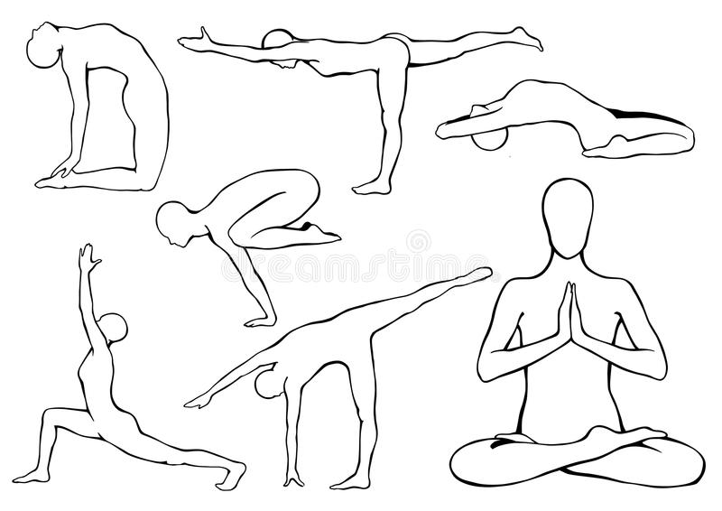 Line Art Yoga : Set of yoga asanas stock vector illustration