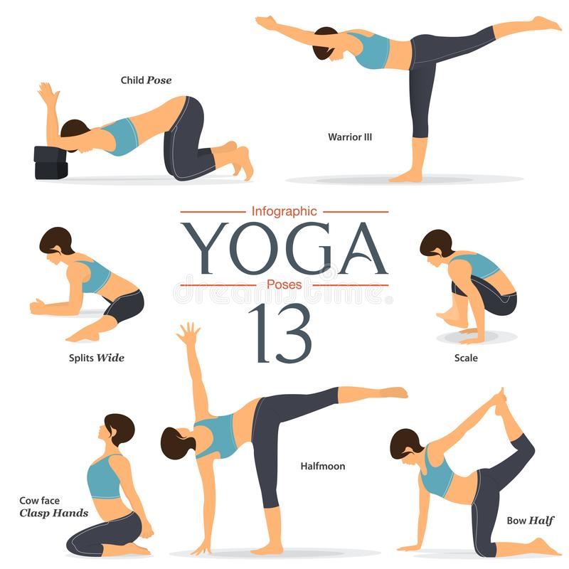 Set of 7 yoga poses in flat design. Woman figures exercise in blue sportswear and black yoga pants for yoga infographics. Vector Illustration vector illustration
