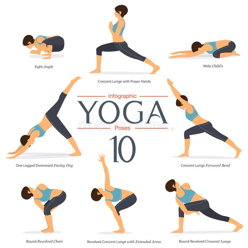 Set of 8 yoga poses in flat design . Woman figures exercise in blue sportswear and black yoga pant for yoga infographics. Vector Illustration stock illustration