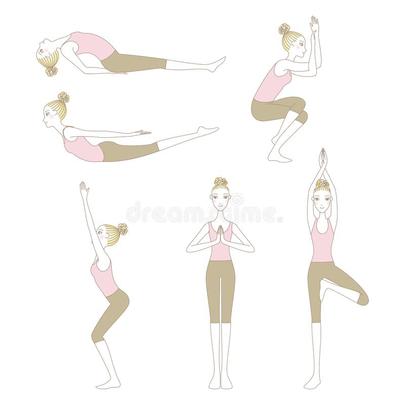 Set of yoga poses isolated on white background. Set of yoga poses such as Locust Pose, Fish Pose, Mountain Pose, Tree Pose, Eagle Pose and Chair Pose isolated on royalty free illustration