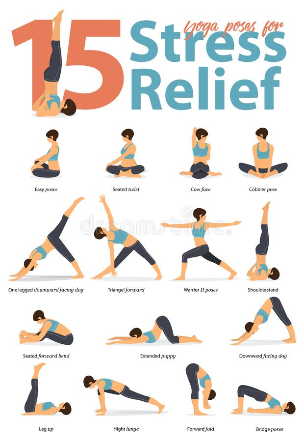 Set of yoga postures female figures for Infographic 15 Yoga poses for stress relieve in flat design. Woman figures exercise in blue sportswear and black yoga vector illustration