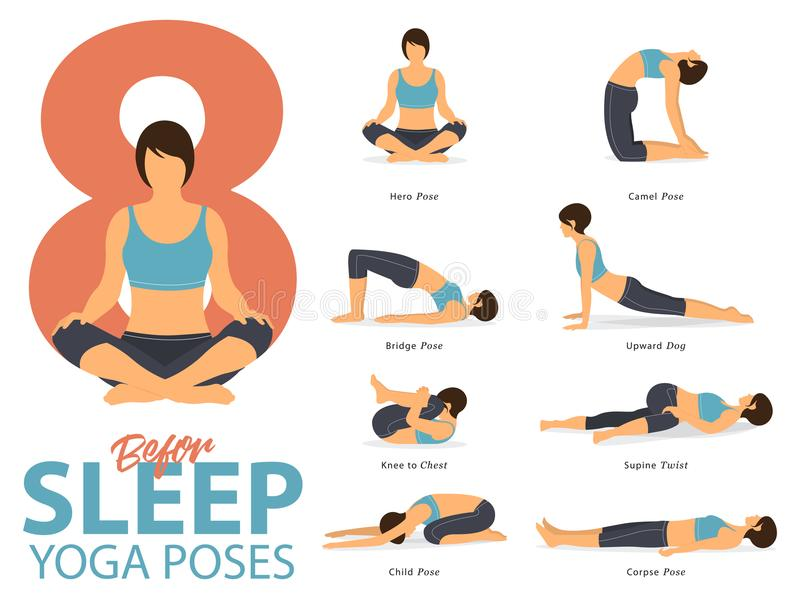 A set of yoga postures female figures for Infographic 8 Yoga poses for exercise before sleep in flat design. Vector. A set of yoga postures female figures for vector illustration