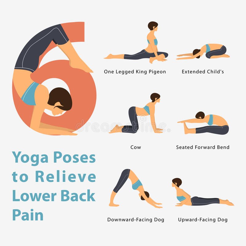 A set of yoga postures female figures for Infographic 6 Yoga poses to relieve lower back pain in flat design. Vector Illustration stock illustration