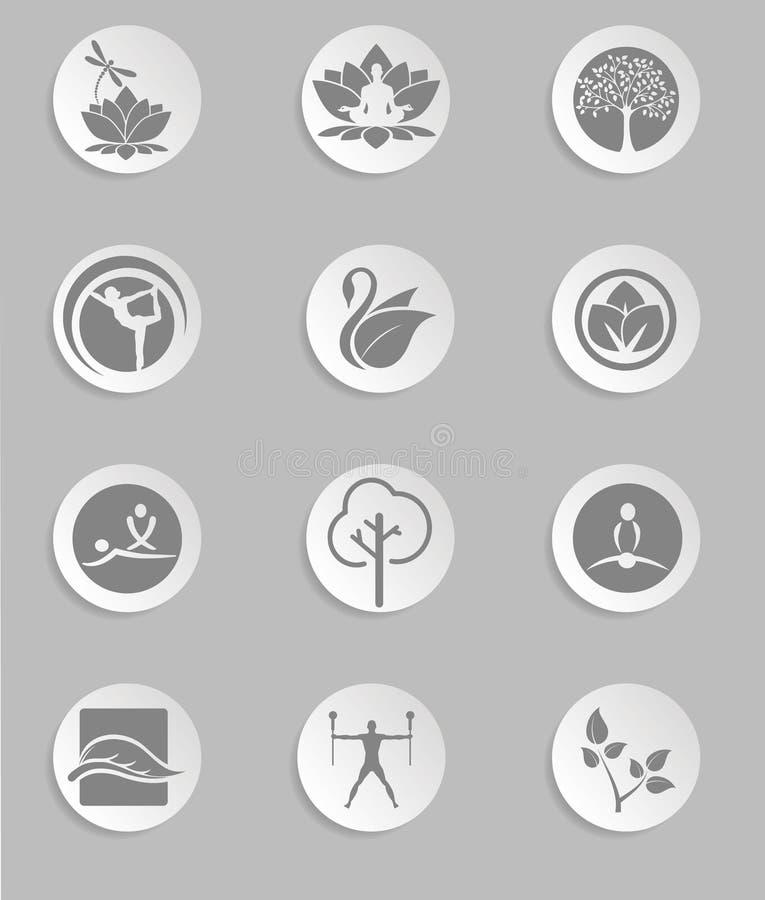 Set Yoga und Eignung, bunte Ikonen Auch im corel abgehobenen Betrag vektor abbildung