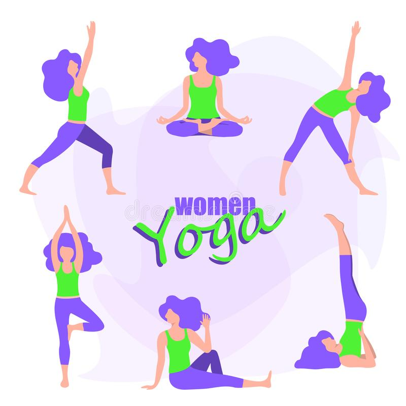 Set of yoga for women, young girl doing exercises vector illustration