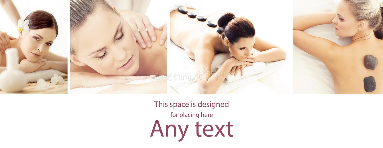 Set with young and beautiful girls relaxing in spa. Woman in mas royalty free stock photo