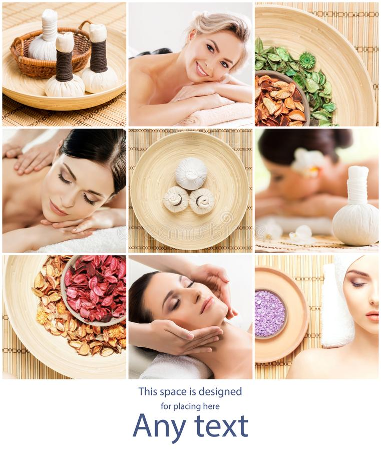 Set with young and beautiful girls relaxing in spa. Woman in massaging salon. Traditional oriental therapy and massaging. Treatments. Health, care and medicine stock photography