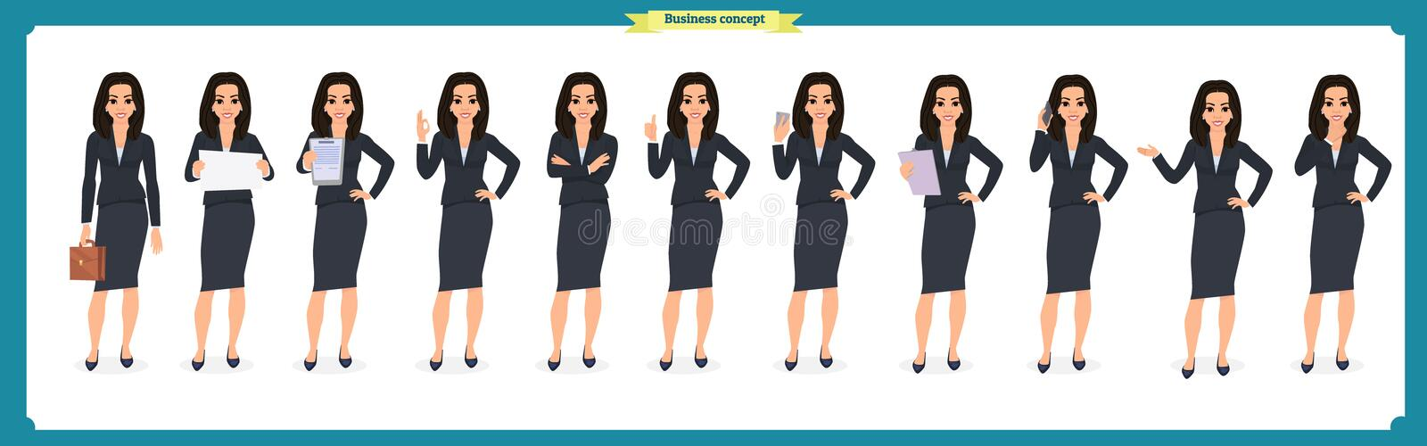 Set of young businesswoman presenting in different poses.People character. Standing. Isolated on white. Flat style.business vector illustration