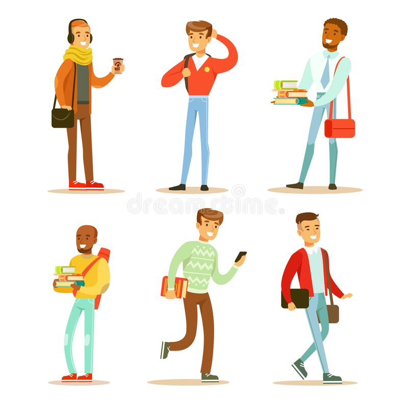 Flat vector set of young cheerful guys. University or college students with books and bags. Cartoon people characters. Set of young cheerful guys. University or stock illustration