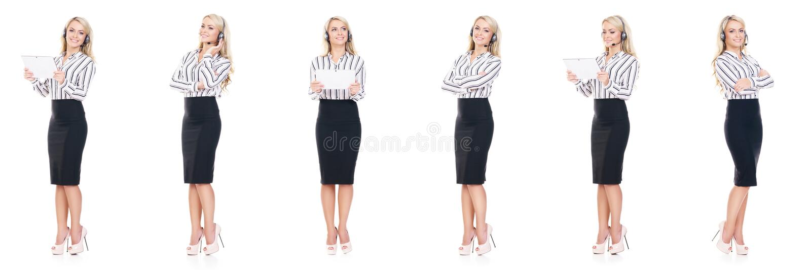 Set young, confident and beautiful customer support operator with isolated on white. Occupation, career, job concept. stock photo