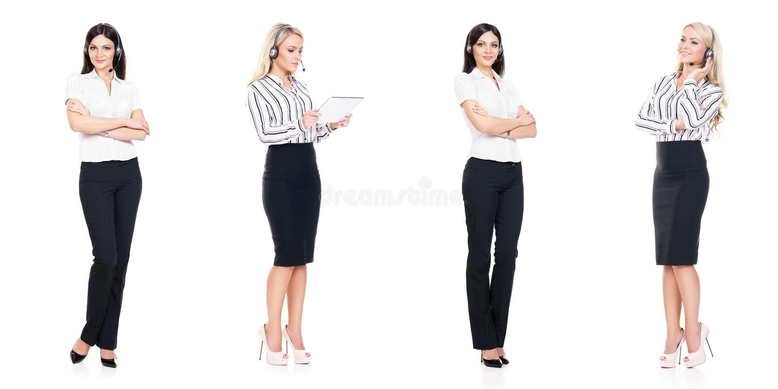 Set of young, confident and beautiful customer support operators royalty free stock images