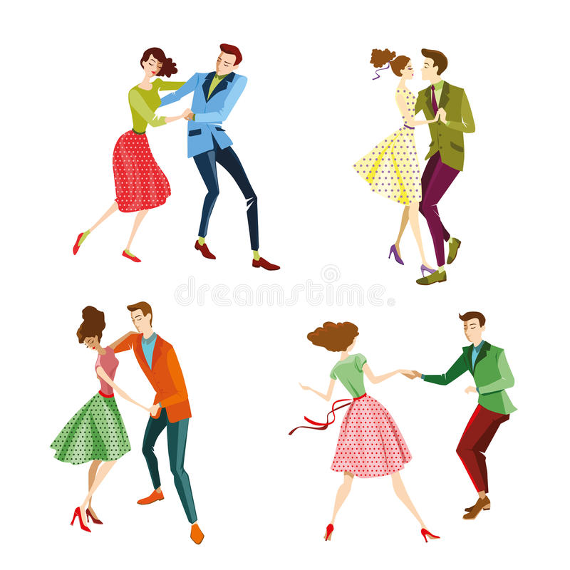 Set of Young couples dancing lindy hop. Vector illustration stock illustration