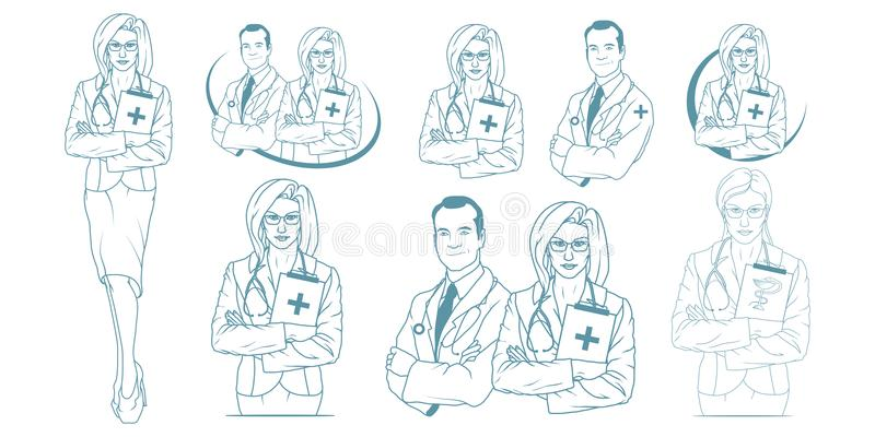 Set of Young doctor with stethoscope. Doctor logo. Medical concept royalty free illustration