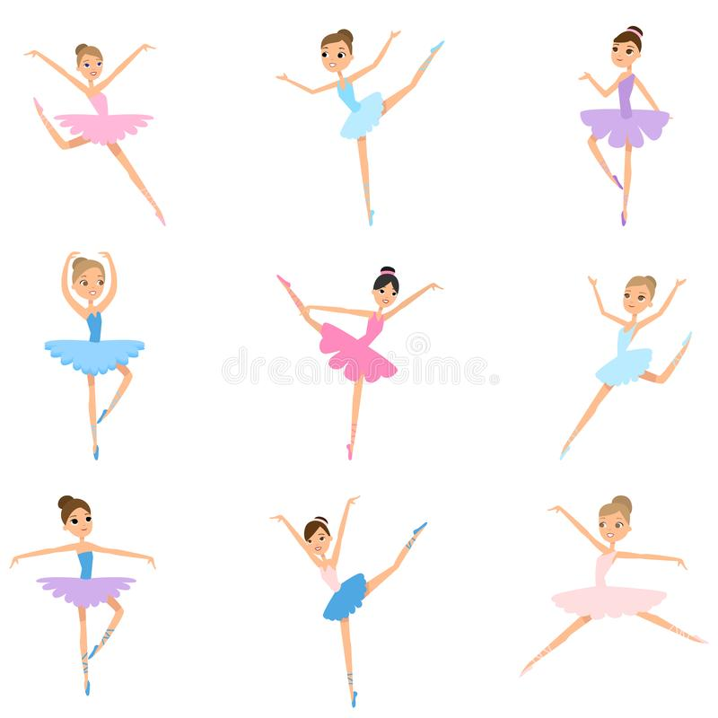 Set of young girl ballerina, colorful textile clothes stock illustration