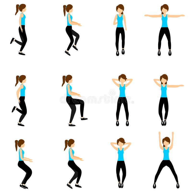 Set of young girls doing exercises in the gym. Beautiful fit woman doing exercises for body warming. vector illustration