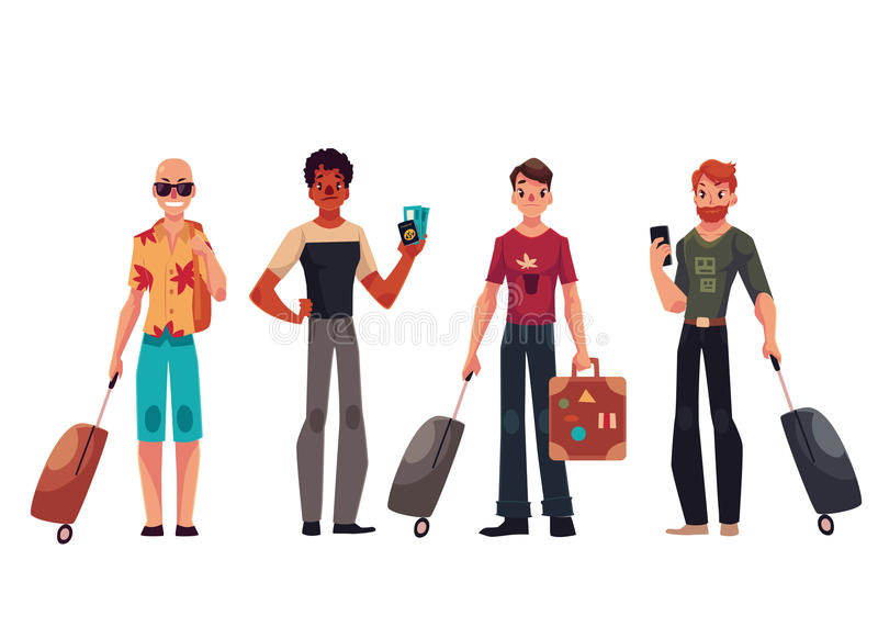 Set of young handsome male travelers with luggage, suitcases. Set of young male travelers with luggage, suitcases, cartoon illustration isolated on white vector illustration