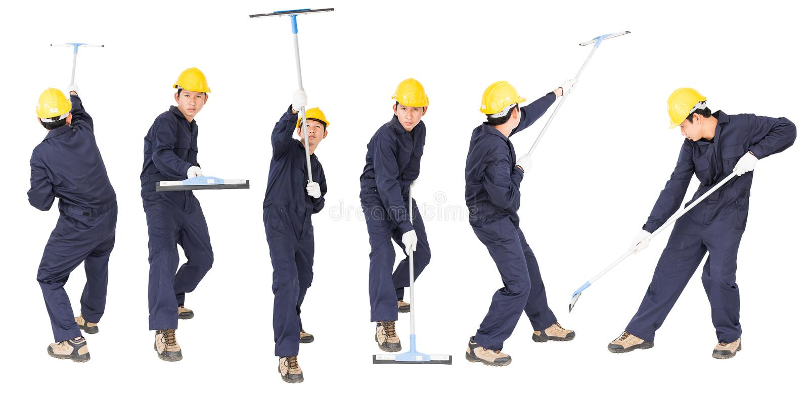 Set of Young man hold squeegee window cleaner isolated on white. Set of Young man in uniform hold mop for cleaning glass window, Cut out isolated on white royalty free stock photos