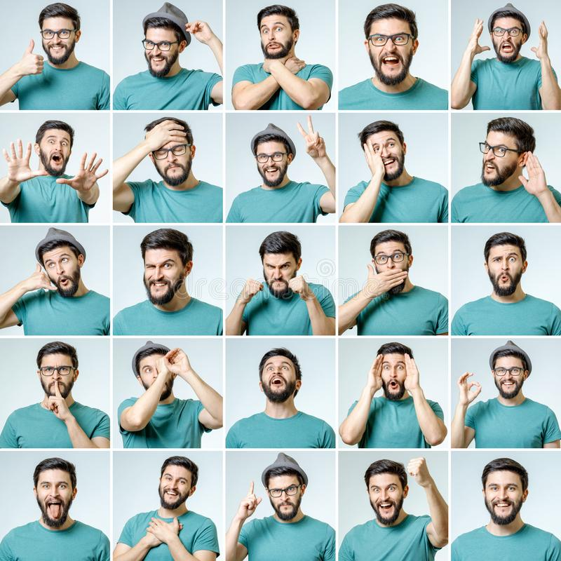 Set of young man`s portraits with different emotions. And gestures isolated stock images