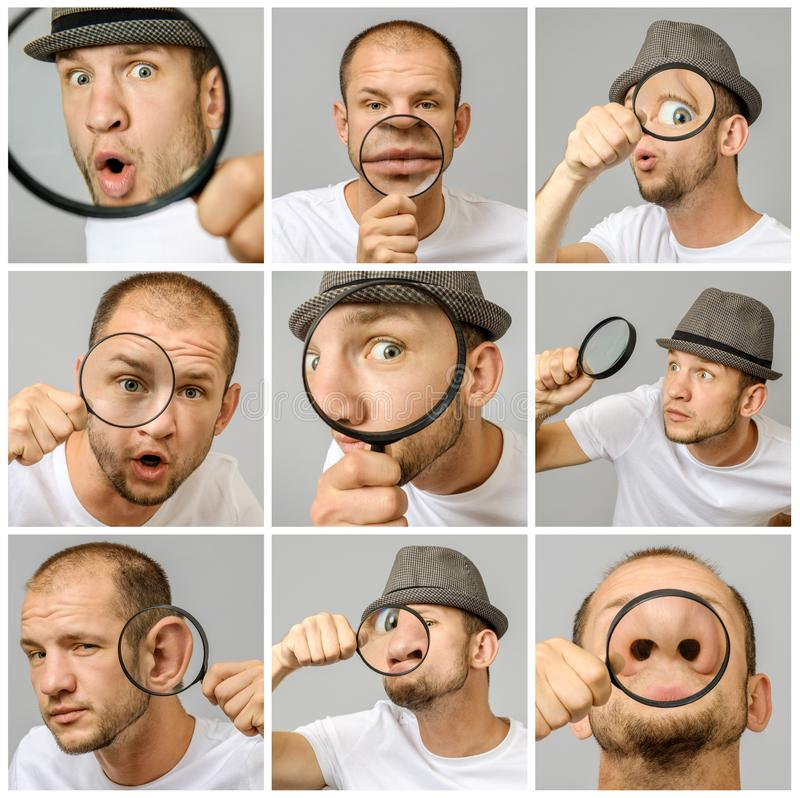 Set of young man`s portraits with different emotions and gestures. With magnifier and hat isolated over gray background royalty free stock photography
