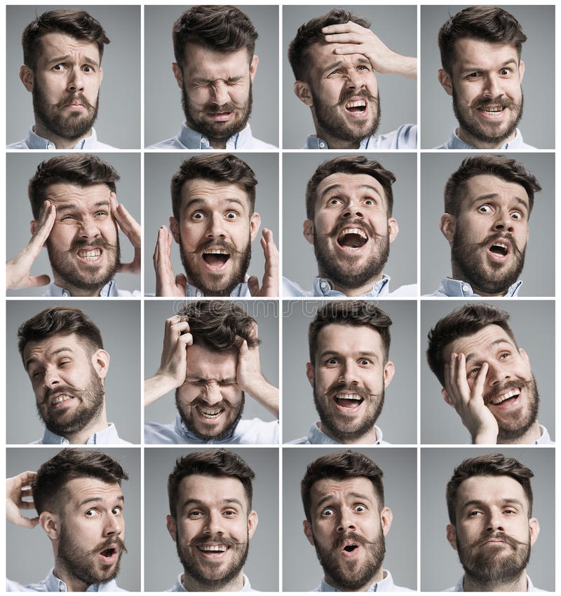 Set Of Young Man's Portraits With Different Emotions Stock