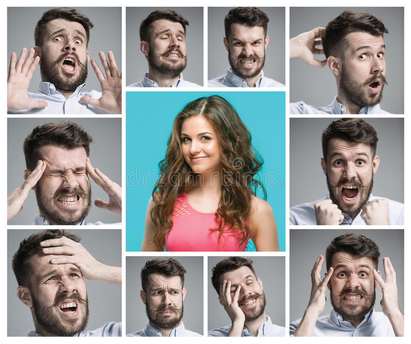 Set of young man`s portraits with different emotions royalty free stock photography