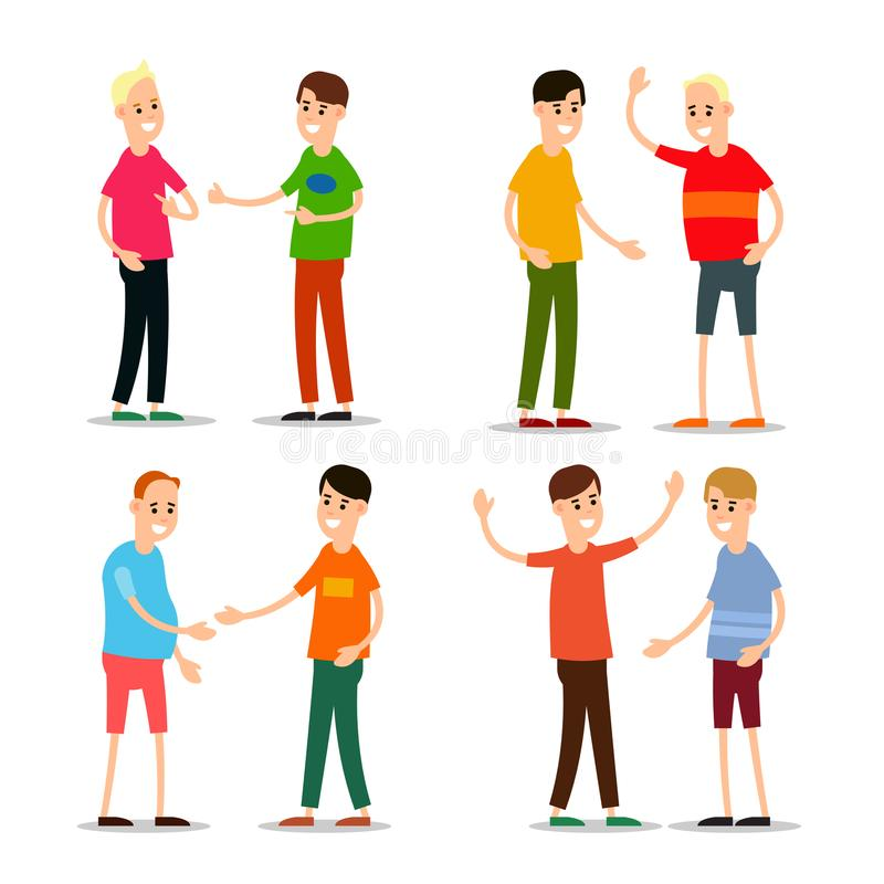 Set young man standing and greet each other. Group of young people. Funny cartoon guy in various poses. Cartoon illustration vector illustration