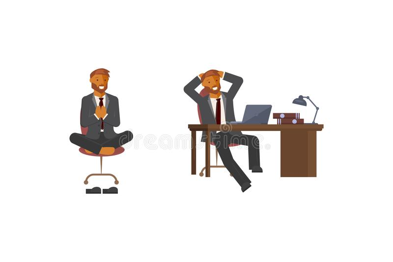 Set of young men. In elegant office clothes is sitting on an office chair and at the table. Vector illustration eps 10 stock illustration