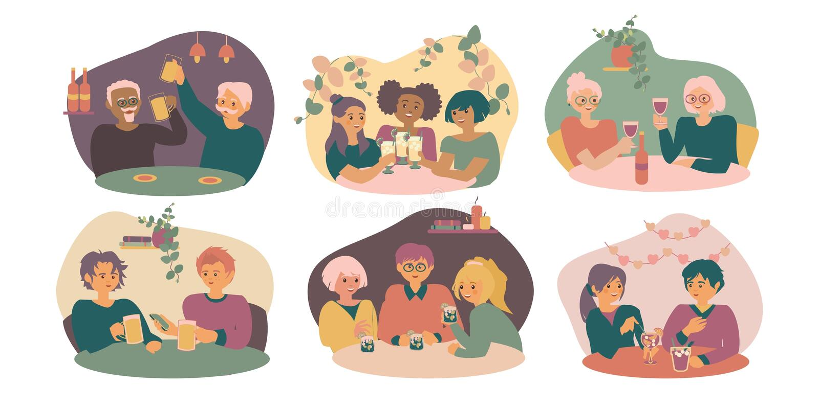Set Of Young And Old Men And Women Sitting At Cafe Or