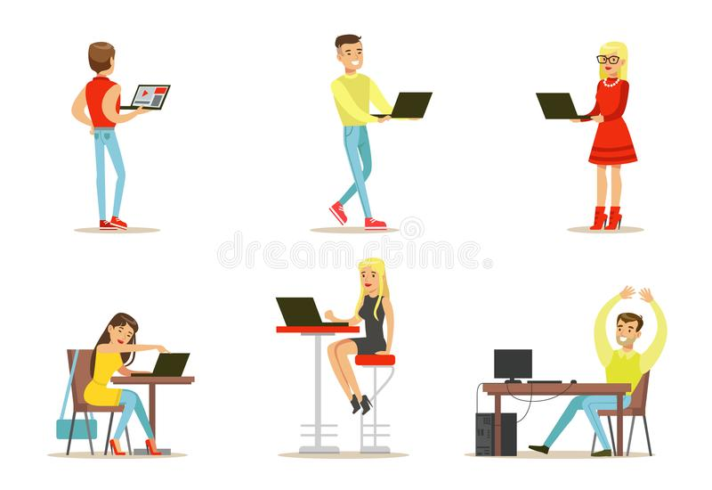 Flat vector set of young people with computers. Internet users. Guys and girls chatting with friends, playing games. Set of young people with computers and stock illustration