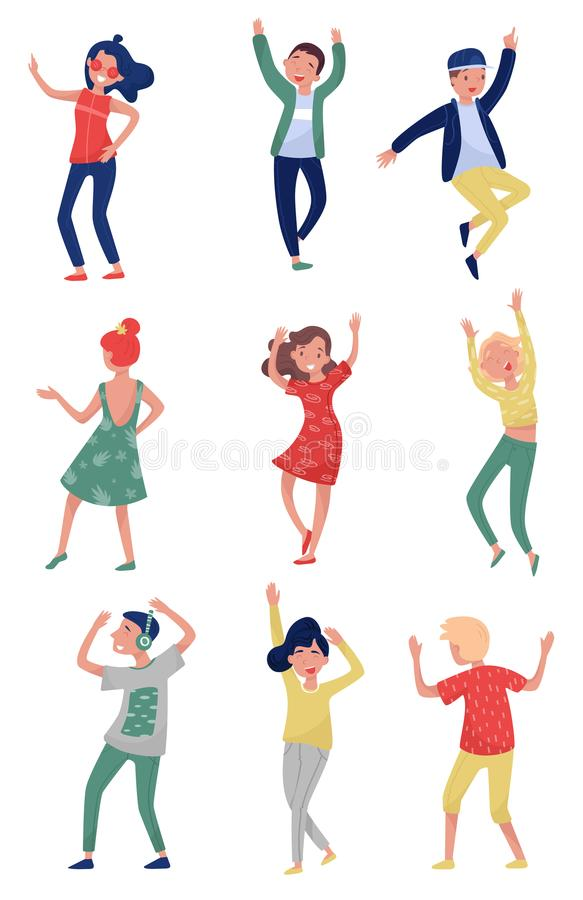 Flat vector set of young people in dancing action. Students having fun at party. Girls and guys in stylish outfit stock illustration