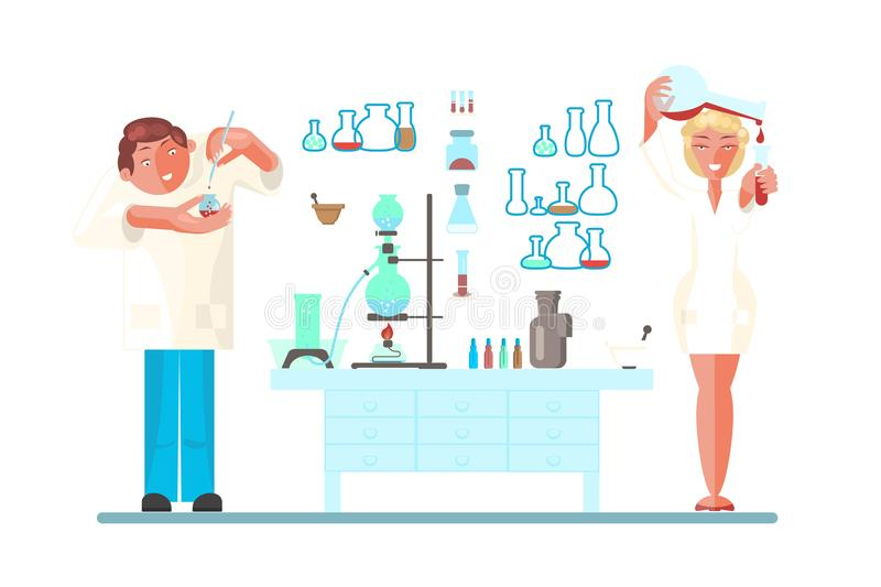 Set with young scientist stock illustration