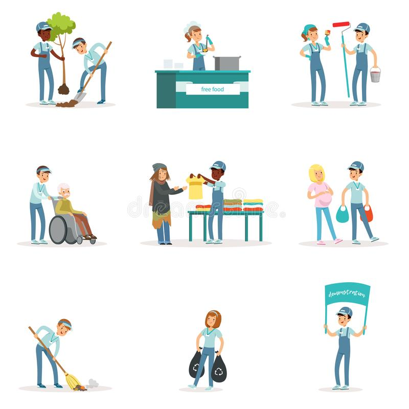 Set of young volunteers helping people. Set of young volunteers: gardening, cleaning garbage, helping old and homeless people. Social support activities. Cartoon stock illustration