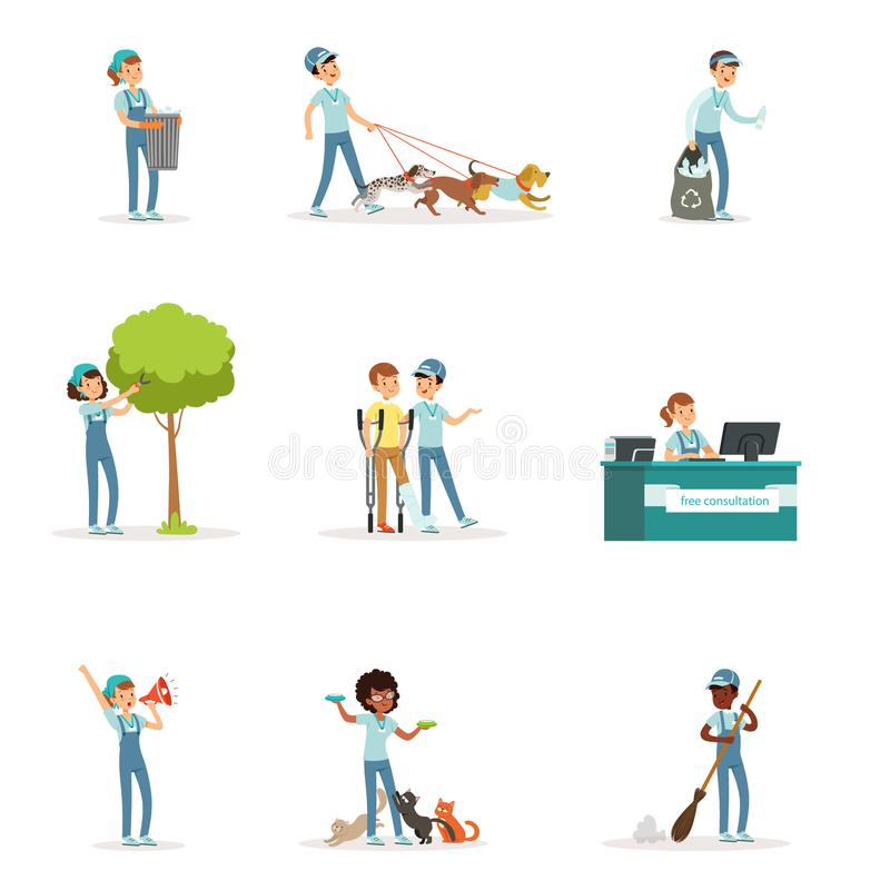 Set of young volunteers helping people. Set of young volunteers: caring of trees, cleaning garbage, helping animals, sick people. Social support activities royalty free illustration