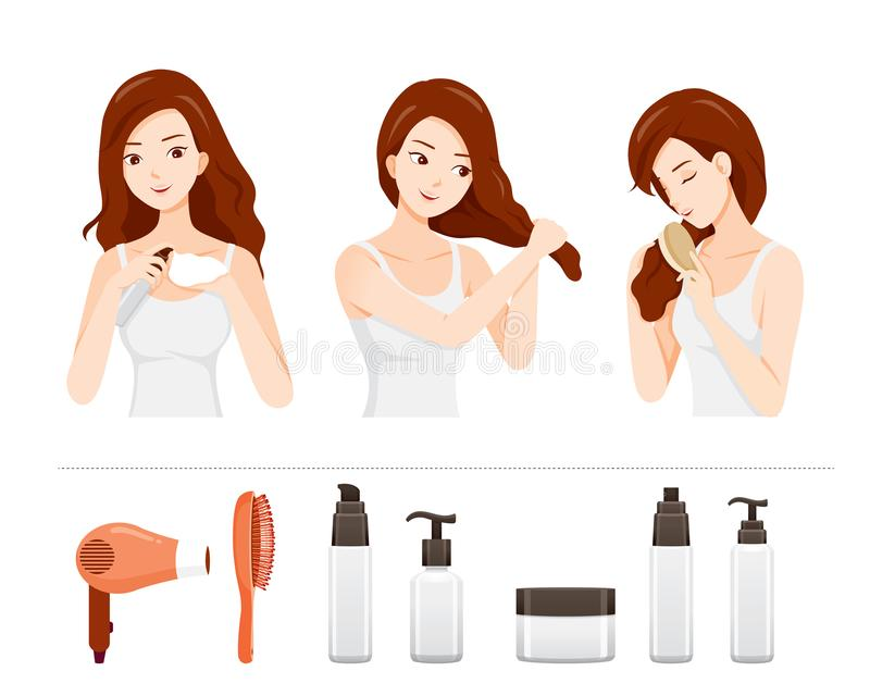 Set Of Young Woman Care And Treatment Her Hair With Hair Treatment Objects. Nourishing Beauty Fashion Hairstyle Scalp royalty free illustration