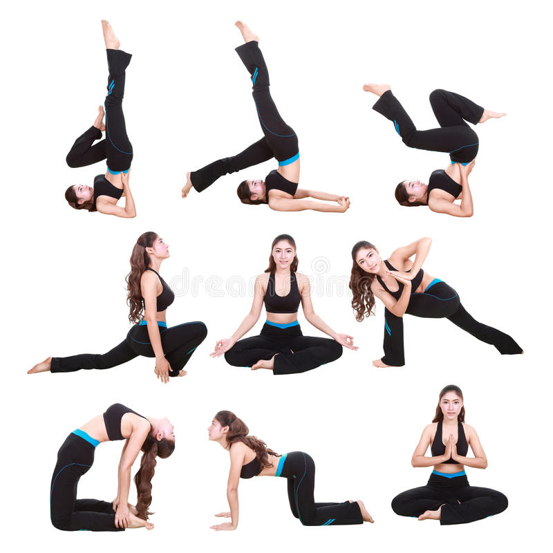 Set of young woman doing yoga exercise isolated on white stock photography