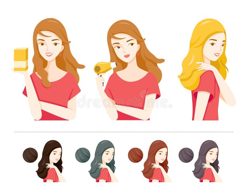 Set Of Young Woman With Hair Dye And Different Hair Colors. Nourishing Beauty Fashion Hairstyle Scalp royalty free illustration
