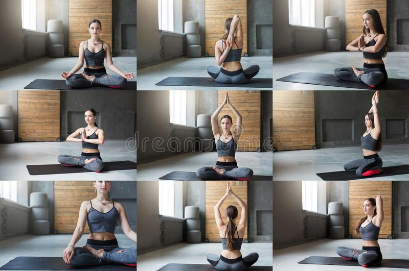 Set of young woman practicing yoga stock photography