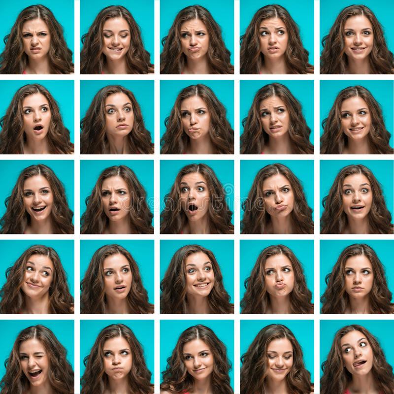 Set of young woman's portraits with different happy emotions royalty free stock images