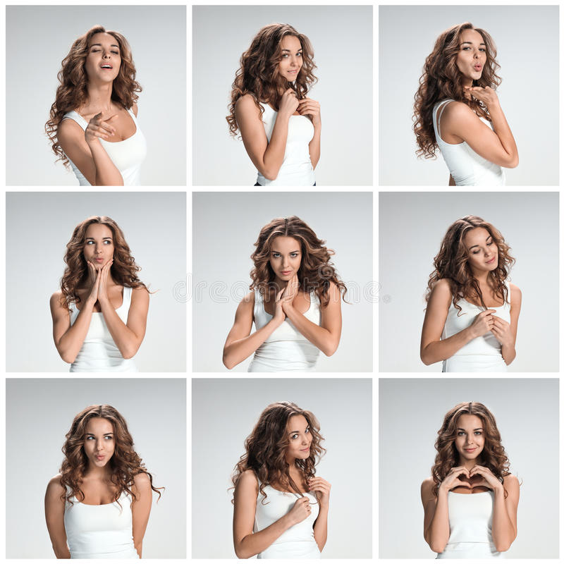 Set of young woman's portraits with different happy emotions royalty free stock photos