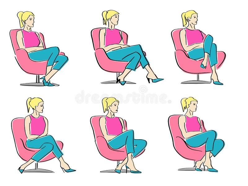 Set of young women sitting in armchair in a closed pose. stock photos