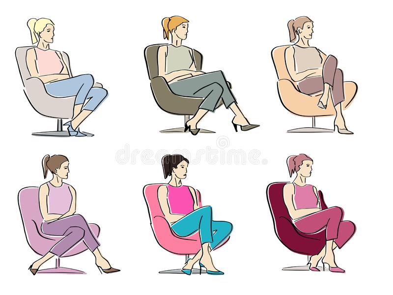 Set of young women sitting in armchair in a closed pose. royalty free stock image